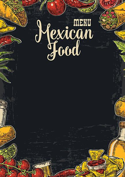 Des plats traditionnels mexicains restaurant menu modèle de plats épicés. - Illustration vectorielle