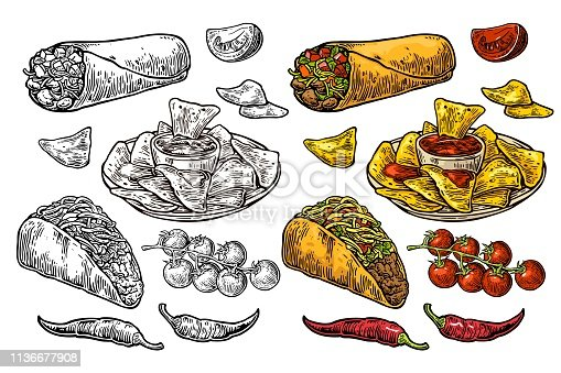Mexican traditional food set. Burrito, tacos, chili, tomato, nachos. Vector vintage engraving illustration for menu, poster, web. Isolated on white background.