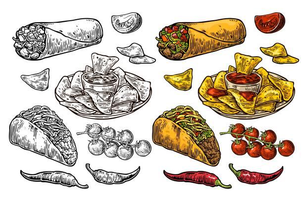 mexican traditional food set burrito, tacos, chili, tomato, nachos. engraving - taco stock illustrations, clip art, cartoons, & icons