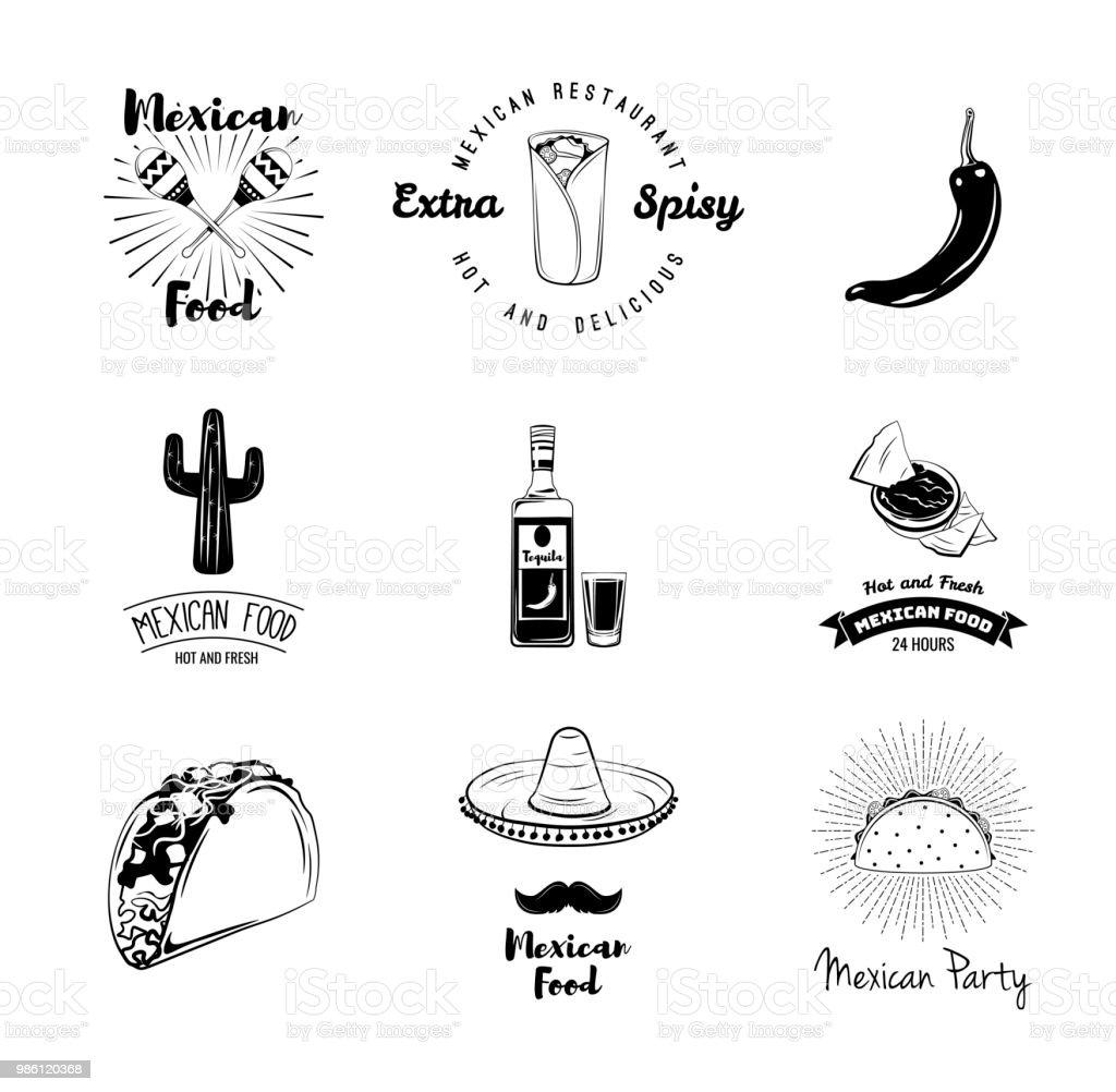 Mexican Traditional Food Set Mexico Symbols Taco Pepper Nachos
