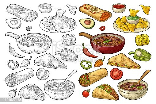 Mexican traditional food set with Guacamole, Quesadilla, Enchilada, Burrito, Taco, Nachos, chili con carne with ingredient. Vector vintage color engraving illustration isolated on white background.