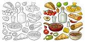 Mexican traditional food set with Guacamole, Enchilada, Burrito, Tacos, Nachos