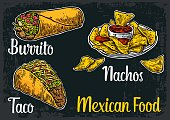 Mexican traditional food set with text message, burrito, tacos, chili, tomato, nachos. Vector vintage engraved illustration for menu, poster, web. Isolated on dark background