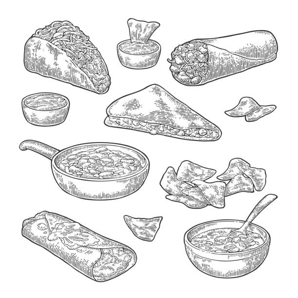 stockillustraties, clipart, cartoons en iconen met mexicaanse traditioneel eten set met sms-bericht, burrito, taco's, chili, tomaten, nachos. - meat pan