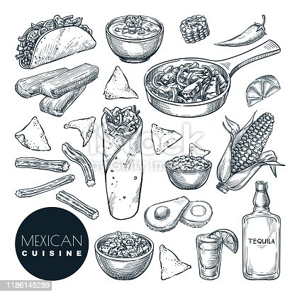 Mexican traditional food, vector sketch illustration. Set of isolated hand drawn snack meal. Restaurant or cafe menu design elements.