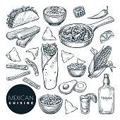 Mexican traditional food, vector sketch illustration. Hand drawn snack meal set. Restaurant, cafe menu design elements