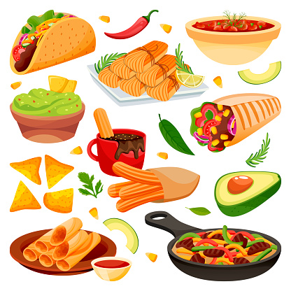 Mexican traditional holiday food dishes. Vector flat cartoon illustration. Set of isolated mexico cuisine meal