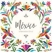 Mexican Traditional Otomí Composition - Copy Space