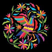 Colorful Mexican Traditional Textile Embroidery Style from Otomi Culture – Floral Composition