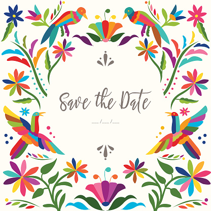 Mexican Traditional Otomí Save The Date Card - Copy Space