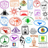 istock Mexican Travel Stamps Vintage Style 1301460178