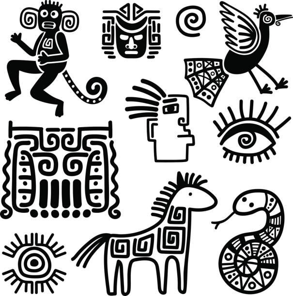 Mexican tribal black line symbols Mexican tribal black line symbols or indian traditional sings. Vector illustration snakes tattoos stock illustrations
