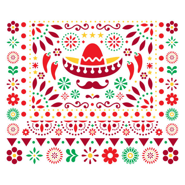 stockillustraties, clipart, cartoons en iconen met mexicaanse vector floral design met sombrero, chilipepers en bloemen, happy ornament-wenskaart op uitnodiging patroon - traditie
