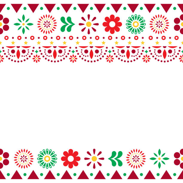 Mexican vector greeting card on invitaitons wtih flowers and abstract shapes on white Folk art repetitive decoration, floral retro design form Mexico in red, orange and green on white tradition stock illustrations