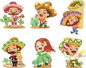 set of 6 cute Mexican,vector illustration