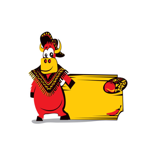 Mexican A funny cow character wearing Mexican hat in front of a board showing the restaurant name or logo. mexican restaurant stock illustrations