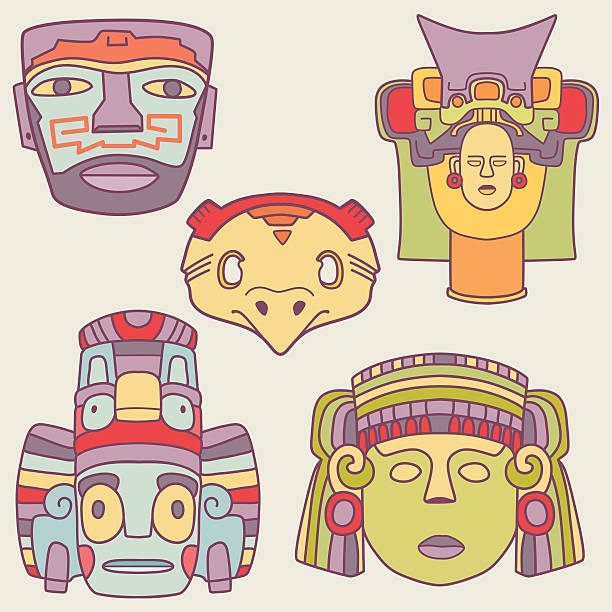 illustrazioni stock, clip art, cartoni animati e icone di tendenza di maschere vettoriale messicano - totem fair