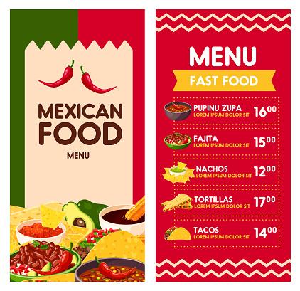 Mexican vector menu for Cinco de Mayo holiday