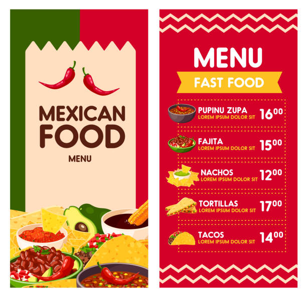 mexican vector menu for cinco de mayo holiday - junk food stock illustrations, clip art, cartoons, & icons