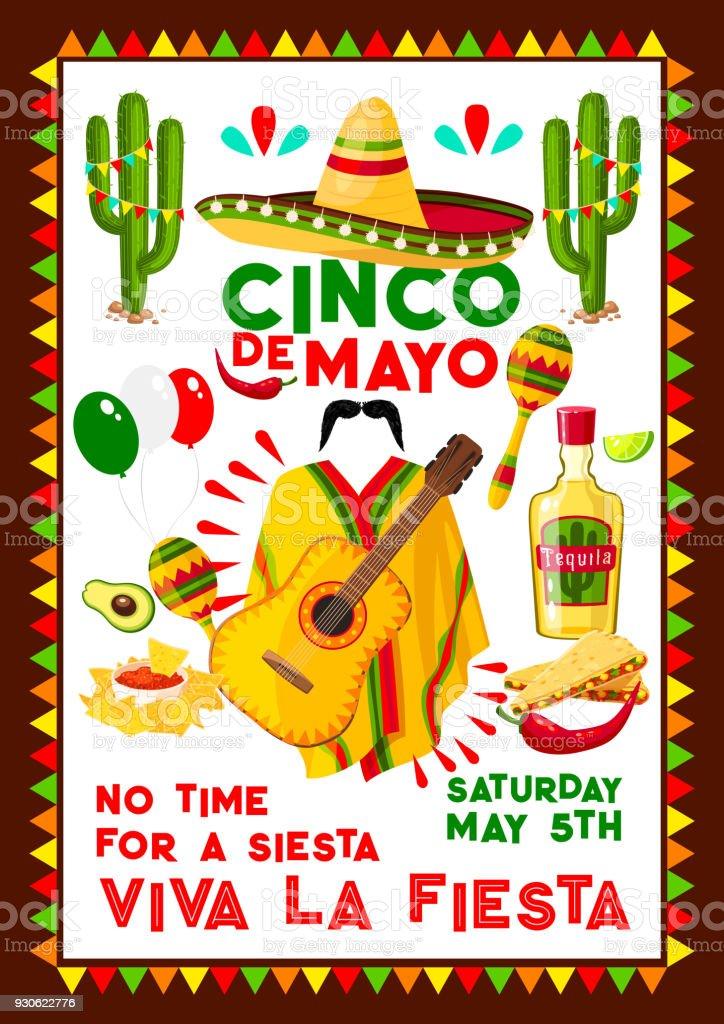 Mexican vector poster for Cinco de Mayo holiday vector art illustration