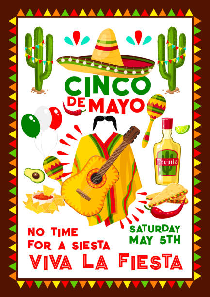 mexican vector poster for cinco de mayo holiday - cinco de may stock illustrations, clip art, cartoons, & icons