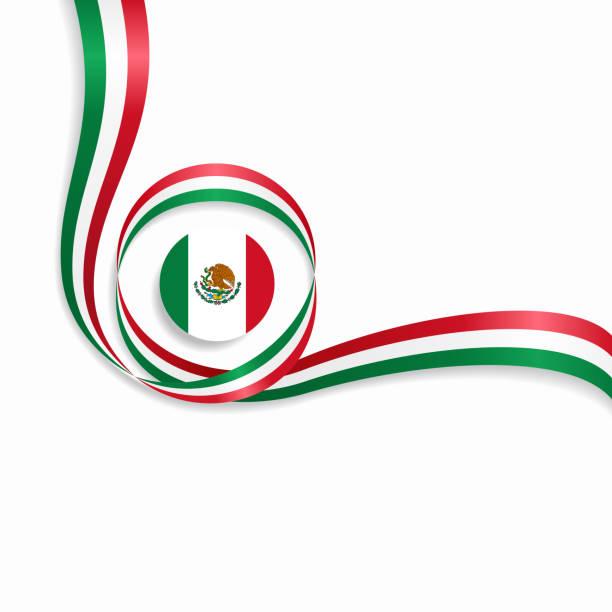 Fundo da bandeira mexicana ondulado. Ilustração em vetor. - ilustração de arte em vetor