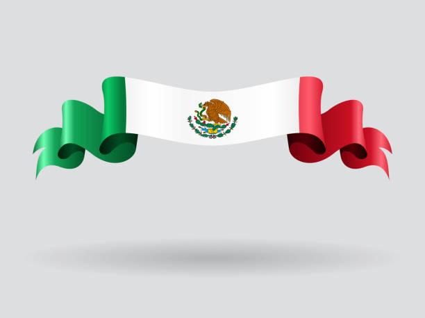 Mexican wavy flag. Vector illustration. vector art illustration