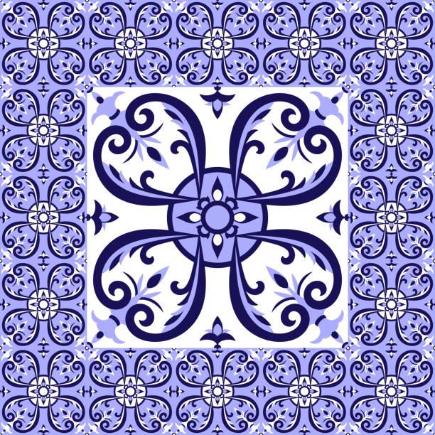 illustrazioni stock, clip art, cartoni animati e icone di tendenza di mexican white blue tiles floor pattern vector - capri
