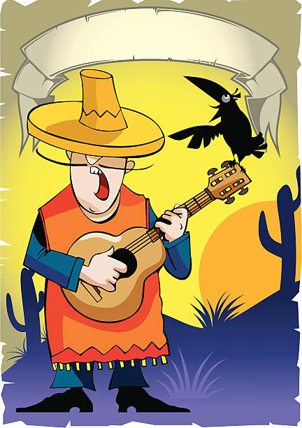 """Mexican with a guitar Vector Illustration """"Mexican with a guitar"""" mexican restaurant stock illustrations"""