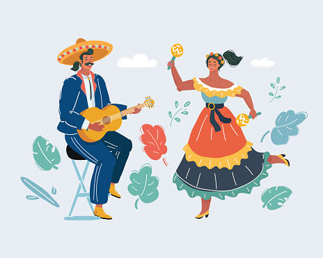 Mexican woman and man play guitar and danceing.