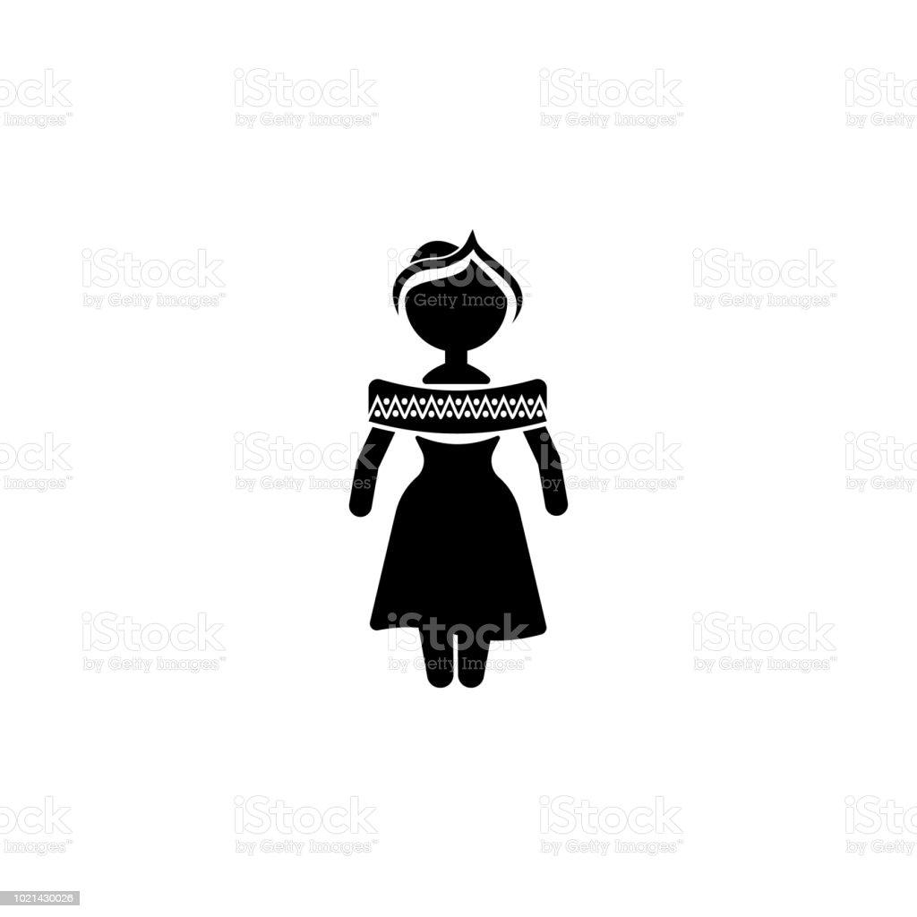 d02cae015 Ilustración de Mujer Mexicana En Icono De Ropa Nacional Elementos De ...