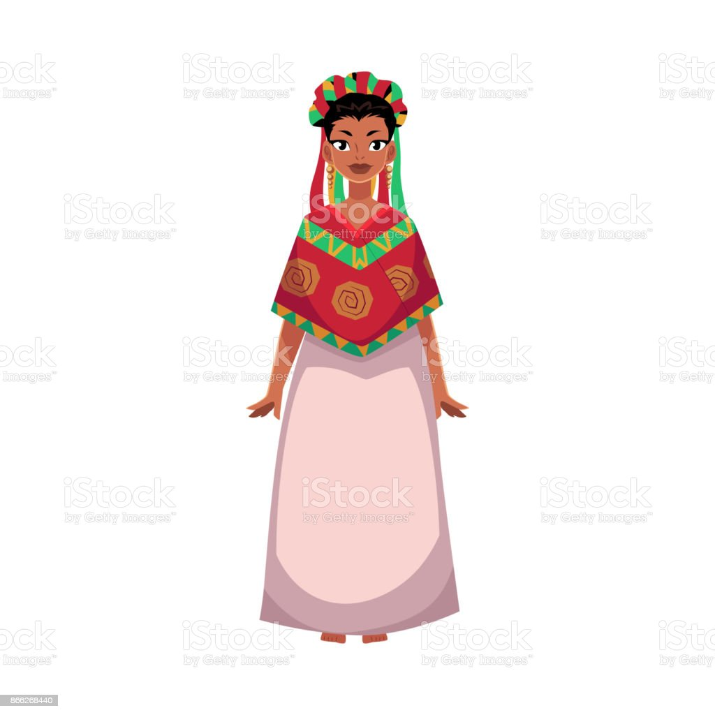 Mexican woman in national clothes, serape and flower head wreath vector art illustration