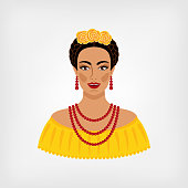 Mexican woman in traditional clothes. vector illustration - eps 8