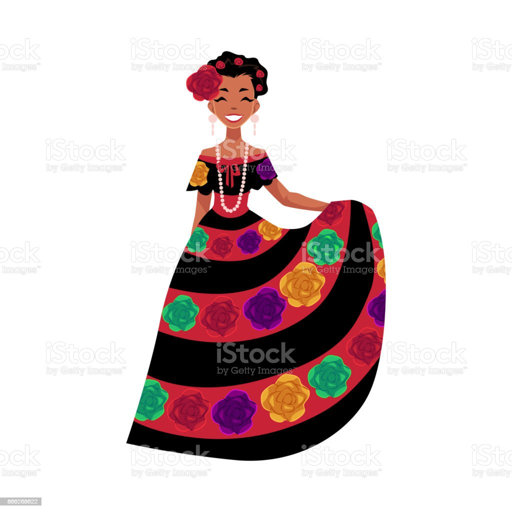 Mexican woman in traditional national dress decorated with embroidered flowers vector art illustration