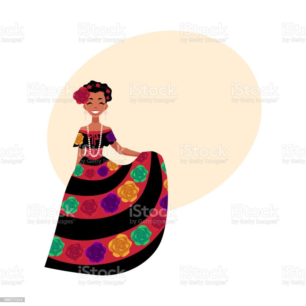 41bbca3f2 Ilustración de Mujer Mexicana En Nacional Tradicional Vestido Decorado Con  Flores Bordadas y más Vectores Libres de Derechos de Adulto