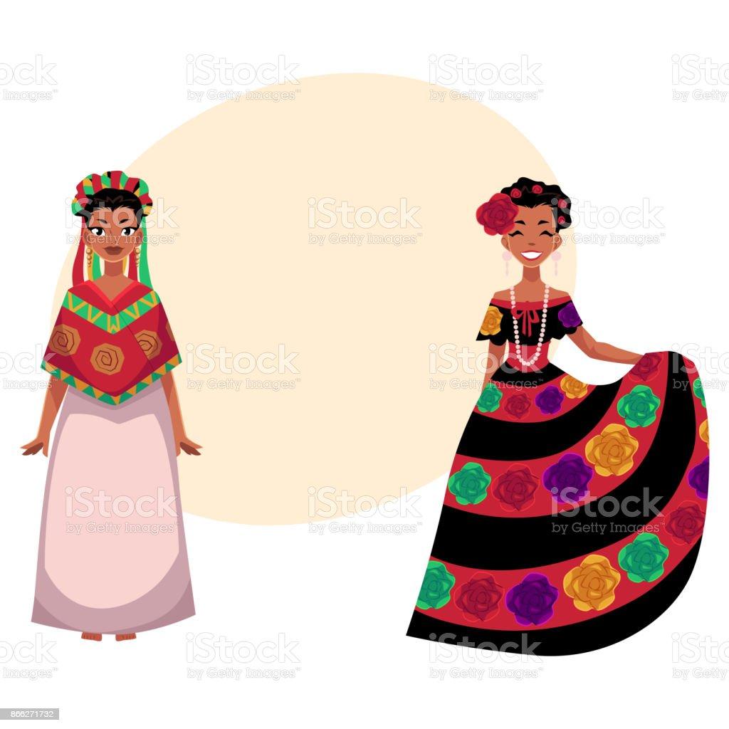 mexikanische frau in traditionellen nationalen kleid mit aufgestickten  blumen verziert stock vektor art und mehr bilder von attraktive frau