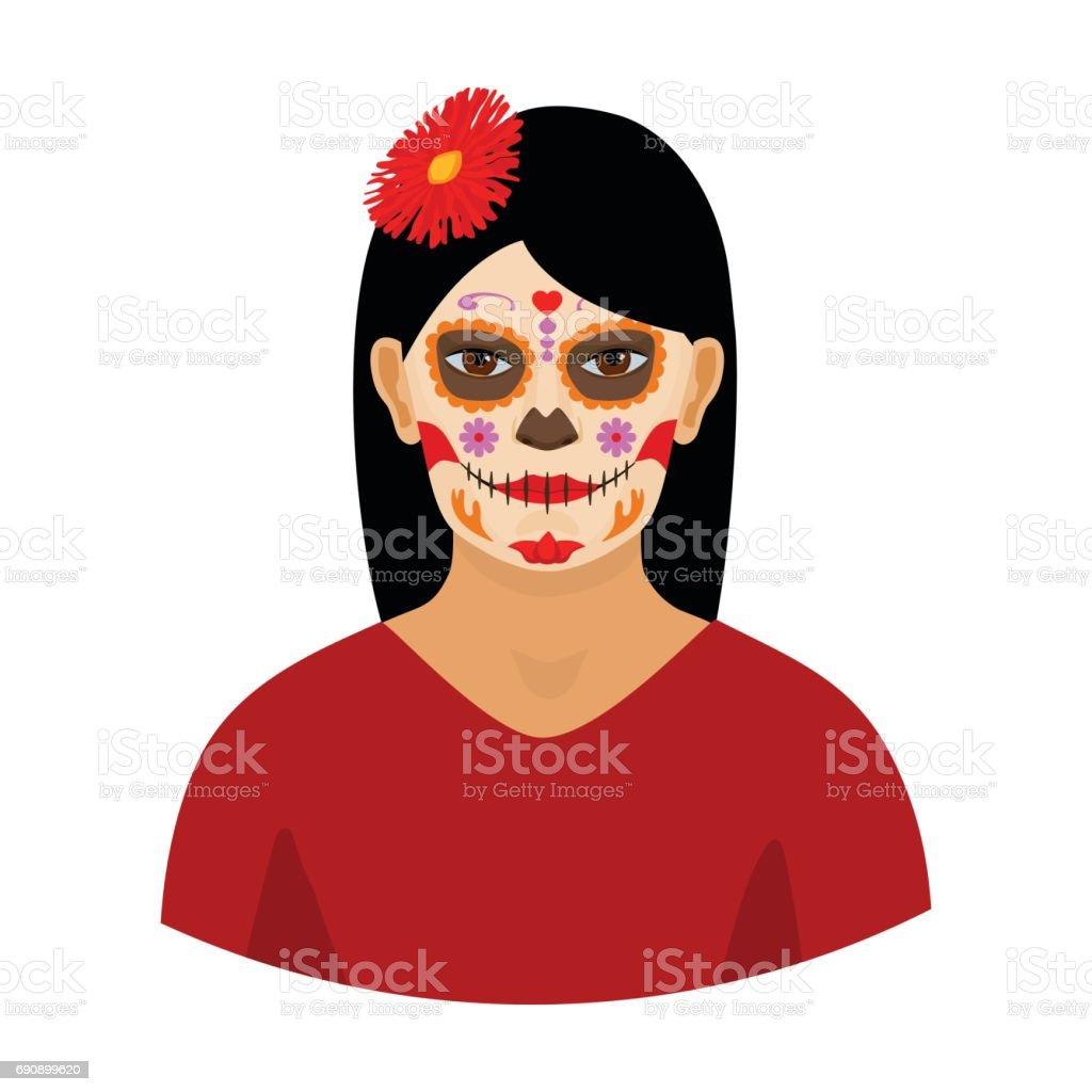 Ilustración De Mujer Mexicana Con Calavera Conforman Icono En Estilo