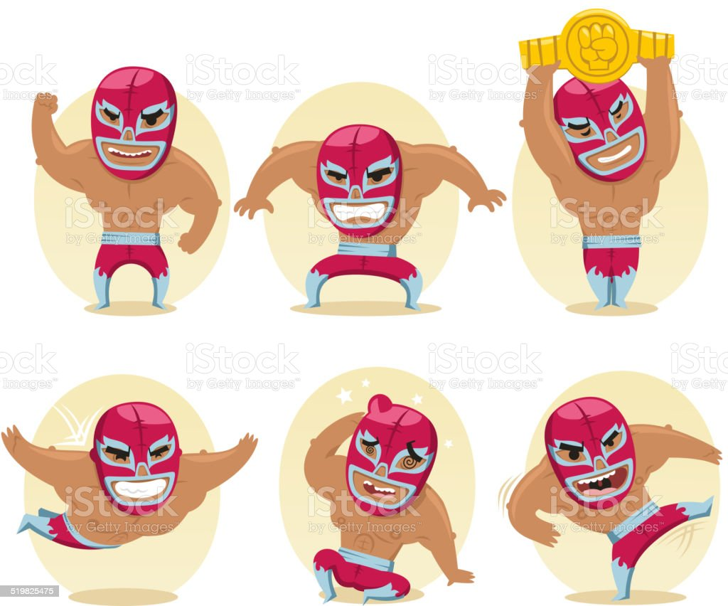 Mexikanische Wrestler Battle Acrobat Fighter Mexikanisches Wrestling – Vektorgrafik