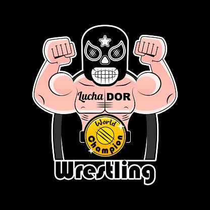 Mexican Wrestler Battle Acrobat Fighter Lucha Libre, vector illustration