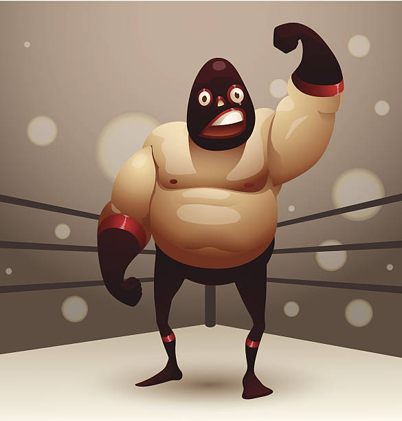 Catch mexicain dans un masque rouge au Abords de ring de boxe - Illustration vectorielle