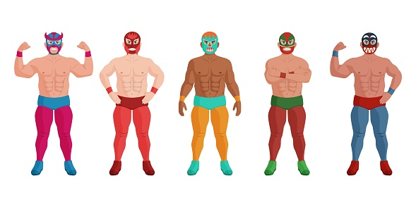 Mexican wrestler in different mask standing in row