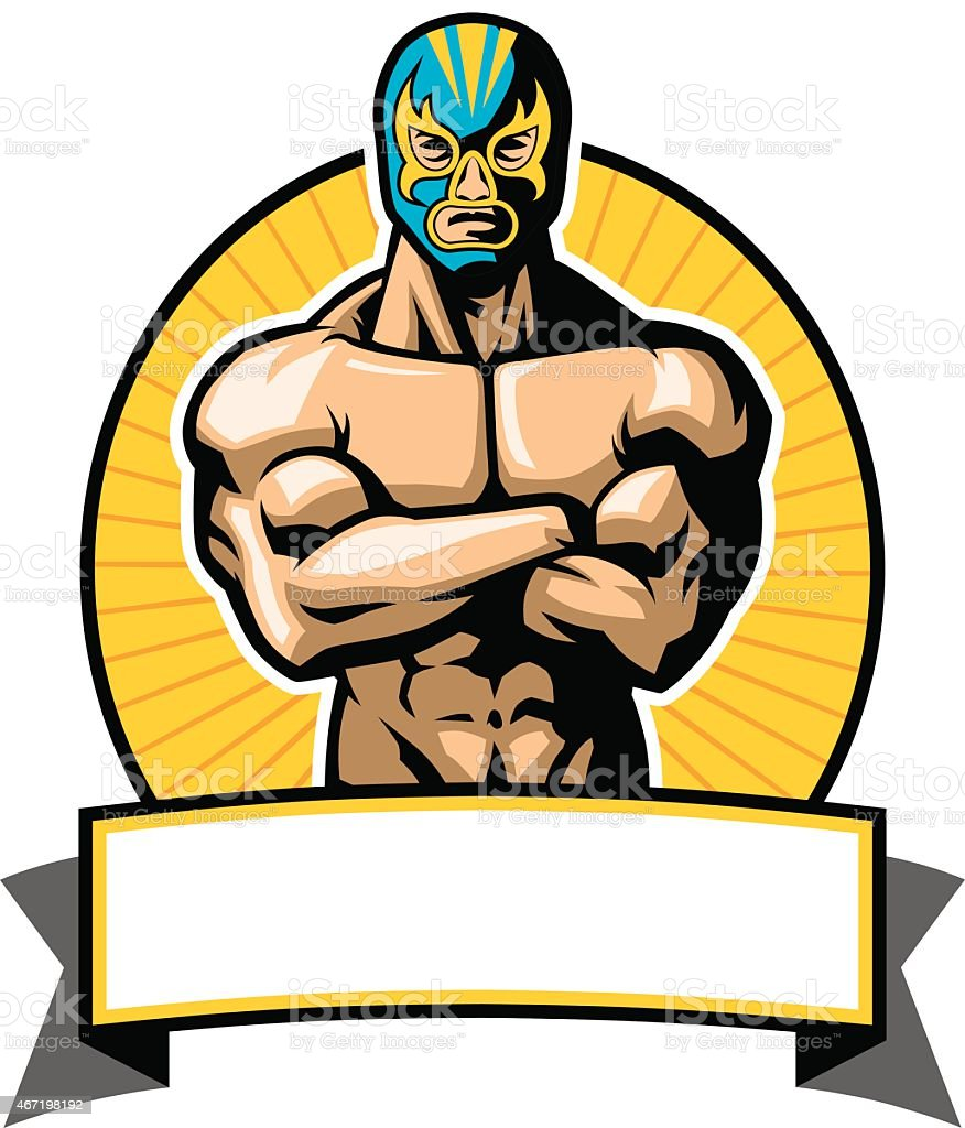 mexican wrestler pose vector art illustration