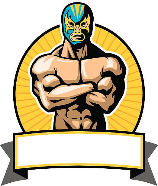 ilustraciones, imágenes clip art, dibujos animados e iconos de stock de mexicana luchador postura - lucha