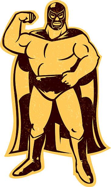 ilustraciones, imágenes clip art, dibujos animados e iconos de stock de mexicana luchador - lucha