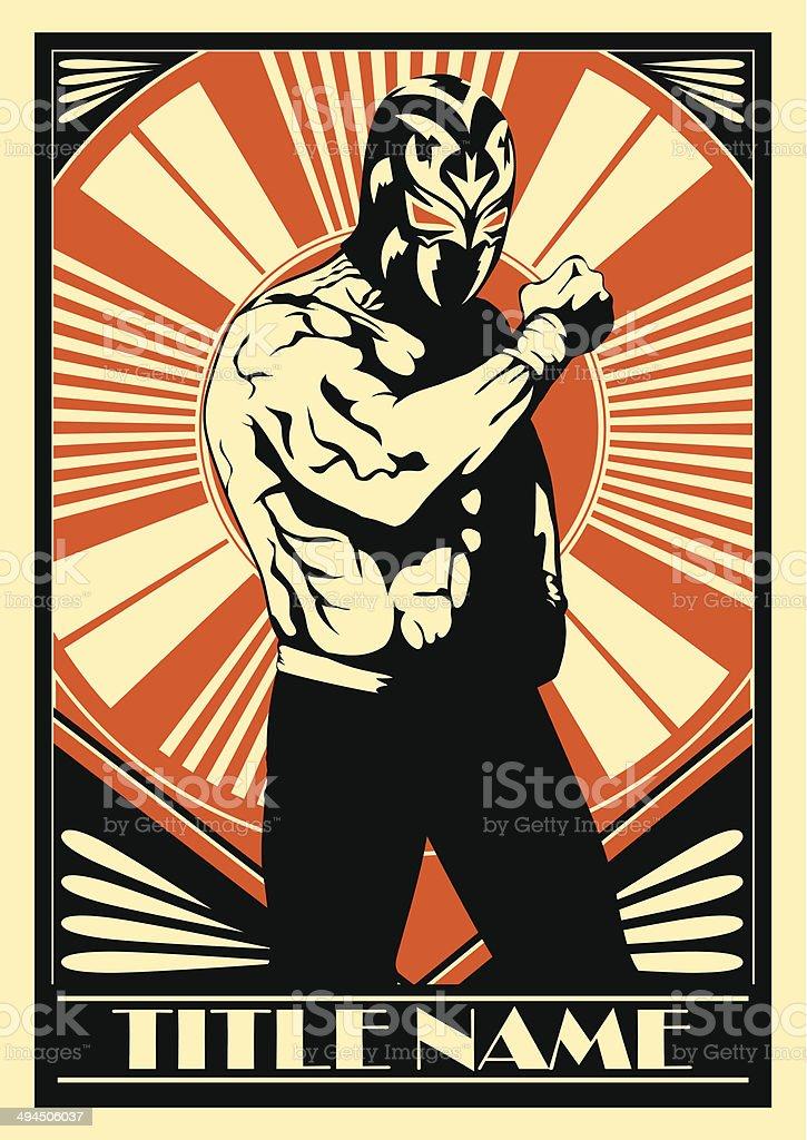 Mexican Wrestler vector art illustration