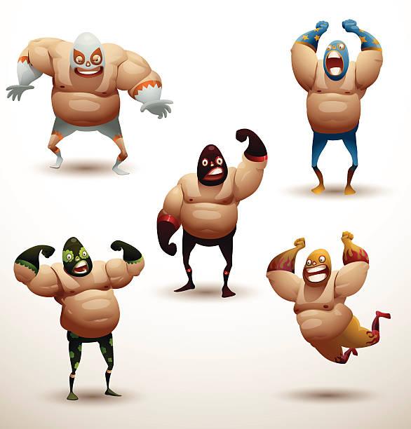 ilustraciones, imágenes clip art, dibujos animados e iconos de stock de mexicana wrestlers de - lucha