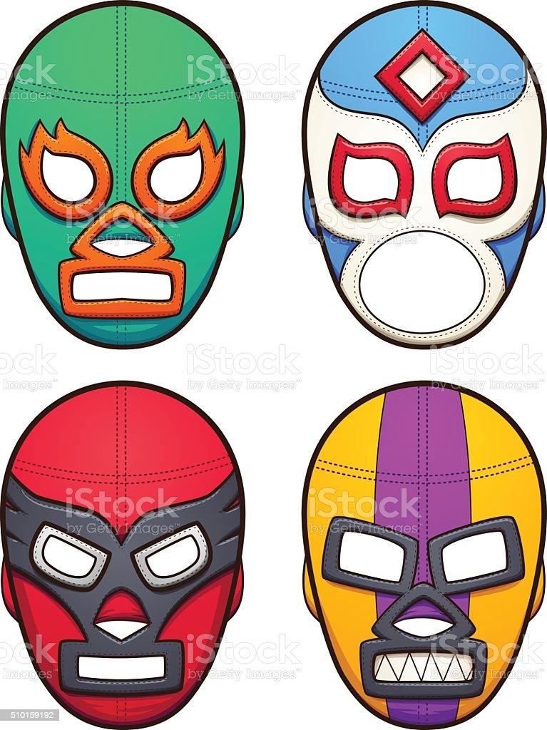 Mexican wrestling masks vector art illustration
