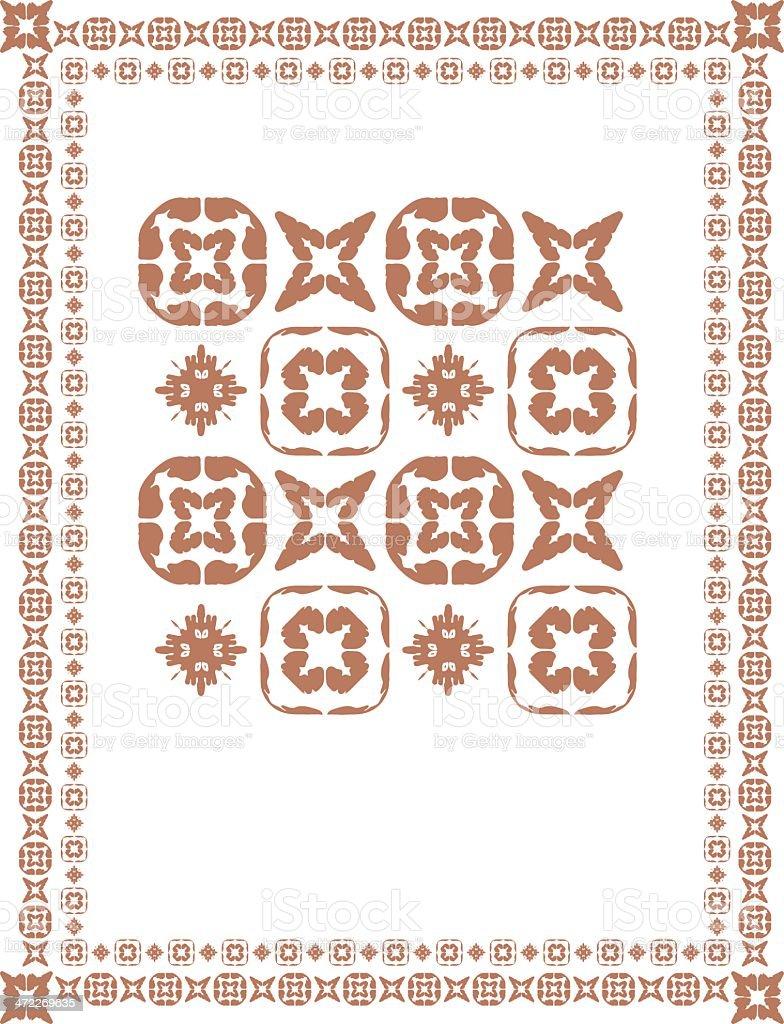 Mexican-Mesoamerican-esque Border and tiles royalty-free stock vector art
