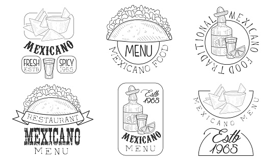 Mexicano Menu Hand Drawn Retro Labels Set, Traditional Fresh and Spicy Food Monochrome Badges Vector Illustration