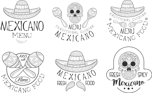 Mexicano Menu Traditional Cuisine Hand Drawn Retro Labels Set, Fresh and Spicy Food Monochrome Badges Vector Illustration
